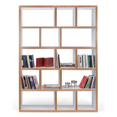 cuisine blanc et noyer etagère bibliothèque berlin 5 niveaux 150 cm blanc bois