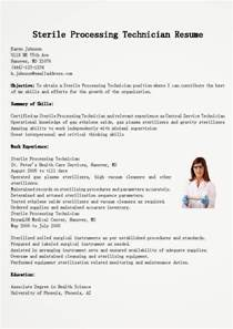 sterile processing manager resume sle resume sles sterile processing technician resume sle