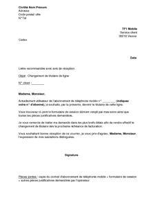 Modification De Nom Free by Lettre De Changement De Titulaire De La Ligne T 233 L 233 Phonique