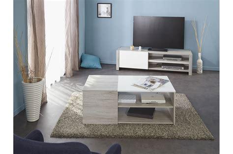 ensemble salon design bois et laque blanche trendymobilier