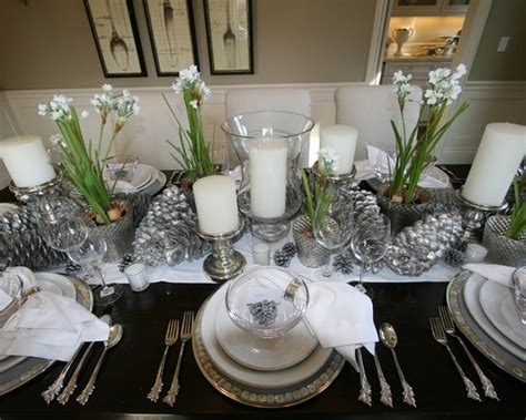 silver and white christmas table setting design from houzz pinpoint