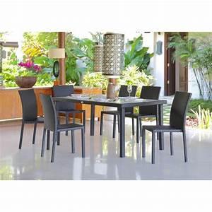 Salon De Jardin Anthracite : ensemble table de jardin 180 cm et 6 chaises resine tressee gris anthracite 266893 ~ Teatrodelosmanantiales.com Idées de Décoration
