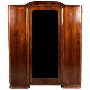 Antique French Art Deco Three Door Armoire Circa 1930 For