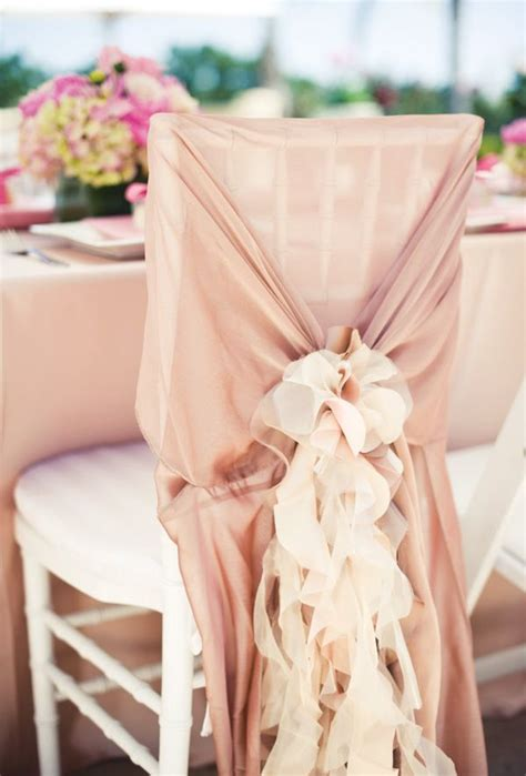 backyard blush pink bridal shower wedding chair cover