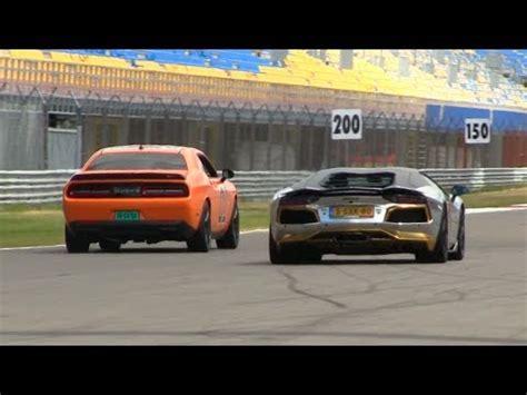 Challenger Hellcat Vs Lamborghini by Dragrace Dodge Challenger Srt Hellcat Vs Aventador W