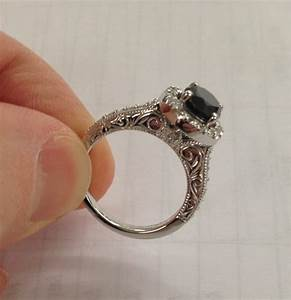 Black diamond 225ct vintage halo engagement ring antique for Where can i sell my old wedding ring