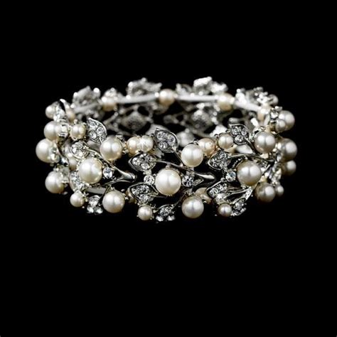 silver ivory stretch pearl bracelet wedding jewellery