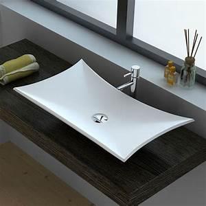 vasque a poser en resine 64x38 cm mineral With salle de bain design avec vasque à poser résine