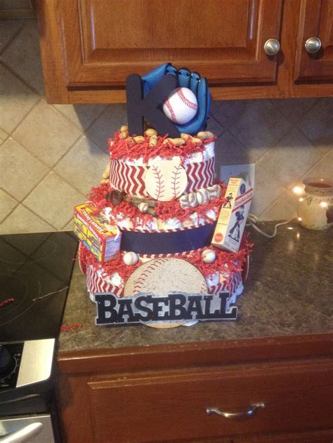 Baseball Theme Diaper Cake  Diy  Pinterest Diapers