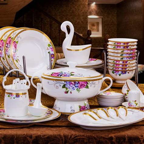 dinnerware china sets tableware gold dishes porcelain luxury gifts bone rimmed household european garden