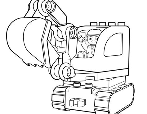 Coloring Excavator by Lego Excavator Coloring Pages