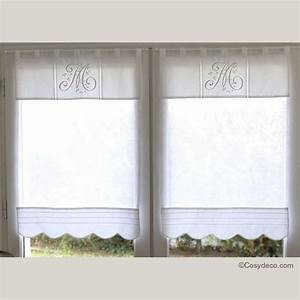 Rideau Brise Vue : boutique rideau brise bise lin blanc monogramme 45x90 cm ~ Teatrodelosmanantiales.com Idées de Décoration
