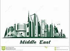 Cities And Famous Buildings In Middle East Stock Vector