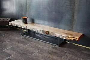 Banc Tv Suspendu : meuble tv banc tv live edge bois m tal de style industriel ~ Teatrodelosmanantiales.com Idées de Décoration