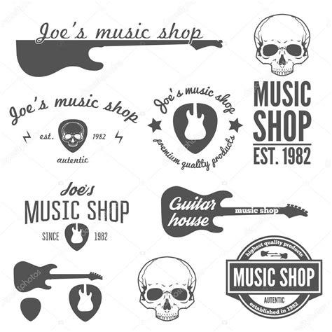 set of vintage logo badge emblem or logotype elements for shop and guitar shop stock
