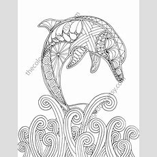 Dolphin Coloring Page, Adult Coloring Sheet, Nautical Coloring, Ocean Colouring Book, Printable