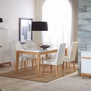Chaise Moderne Avec Table Ancienne : ensemble repas table salle manger 160cm chaises cuir ~ Teatrodelosmanantiales.com Idées de Décoration
