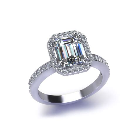 halo emerald cut engagement ring jewelry designs