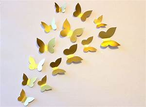 Gold wall decor butterfly decal paper