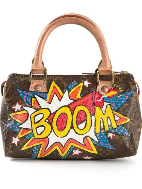lyst louis vuitton mini boom print bowling bag  brown