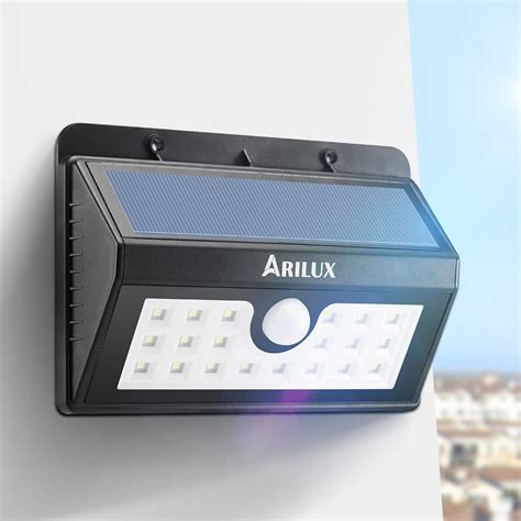 solar sensor wall light arilux al sl02 wireless solar powered 20 led waterproof