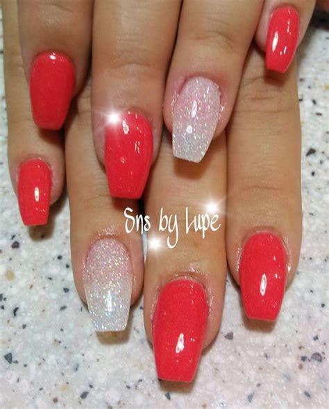 sns dipping powder nails  ballerina shape nails
