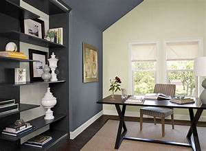 Home office color schemes with dark desk on beige rug for Kitchen cabinet trends 2018 combined with vintage comic book wall art