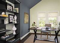 perfect office color ideas black and white Home office color schemes with dark desk on beige rug ...