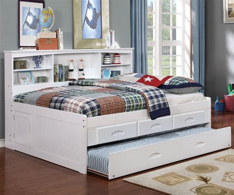 full size bookcase daybed white full size bookcase captain 39 s day bed with trundle