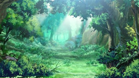 anime landscape green forest anime background
