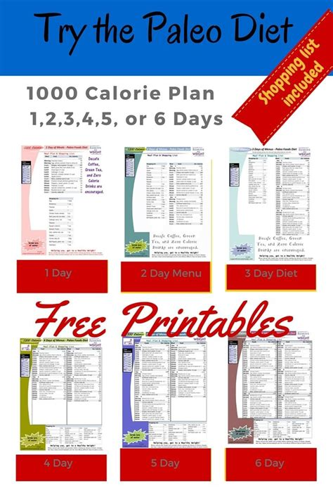 1000 kalorien diät printable 1000 calorie paleo diet for 6 days or less