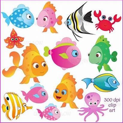 Clip Fish Fishy Clipart Colorful Somethin Premium