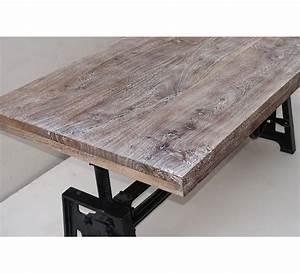 Table Basse Pied Bois : table basse plateau bois et pied en fonte relevable ~ Teatrodelosmanantiales.com Idées de Décoration