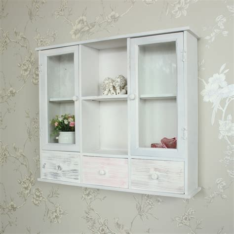 Shabby Chic Wall Cabinets For The Bathroom by Wall Mounted Grey Wooden Storage Shelving Cabinet Shabby
