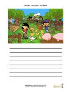 Kitchen Safety Worksheet Creative Writing Activity For Elementary Children Farm Animals Being Fed