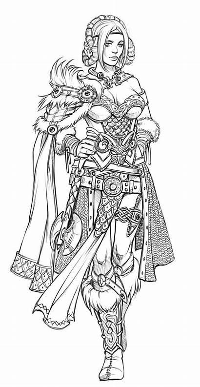 Viking Drawing Fantasy Woman Coloring Costume Line