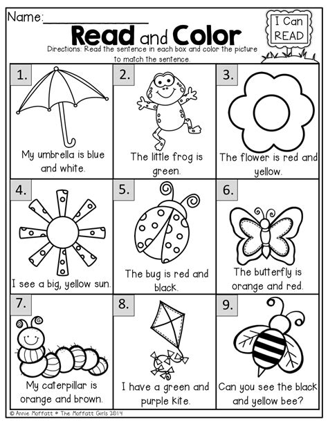 read and color read the simple sentence and color correctly kinderland collaborative