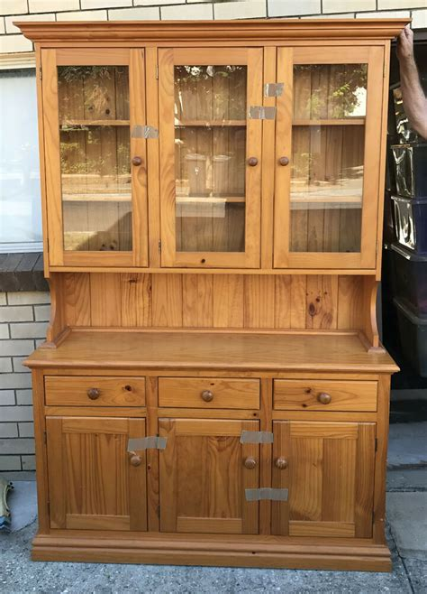 Kitchen Hutch With Drawers by Pine Wood Wooden Hutch Buffet Kitchen Dresser 3 Drawers