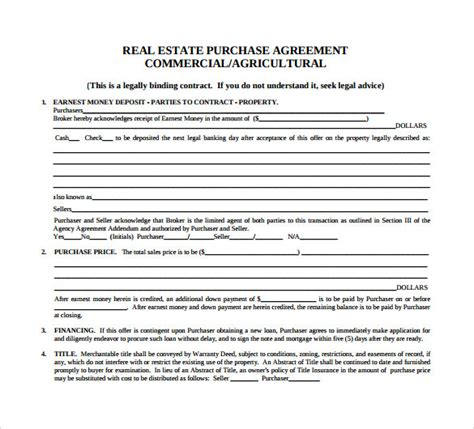 sample home purchase agreement  documents   word