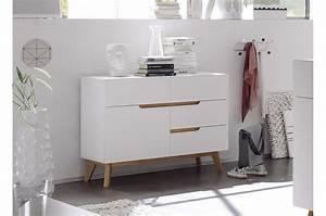 Commode Bois Blanc : commode scandinave blanc et bois cbc meubles ~ Teatrodelosmanantiales.com Idées de Décoration