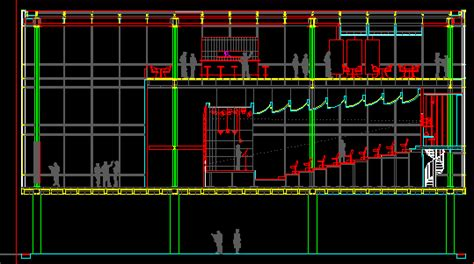 auditorium section dwg section  autocad designs cad