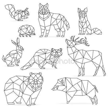 poly linie tiere eingestellt origami polygonaler