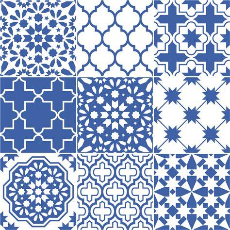 9 stickers carrelages azulejos bleu santorin art et