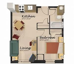 Home Design One Room Apartment Floor Plan  Apartment