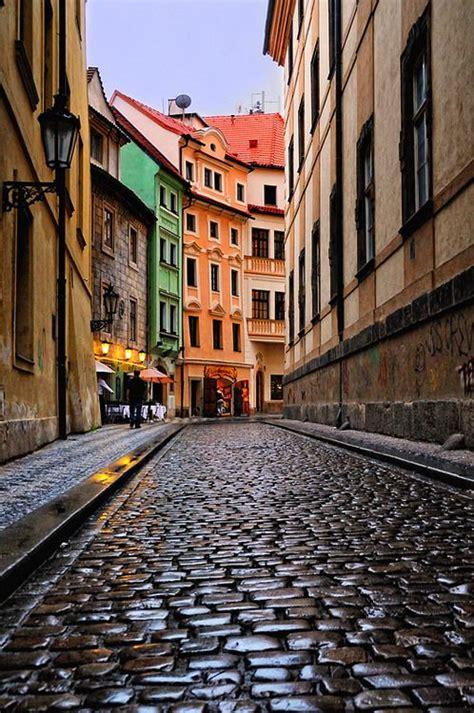 Cobblestone Street Prague Czech Republic Just Walking