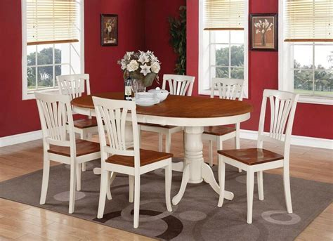 7PC OVAL DINETTE DINING ROOM SET TABLE w/ 6 WOOD SEAT