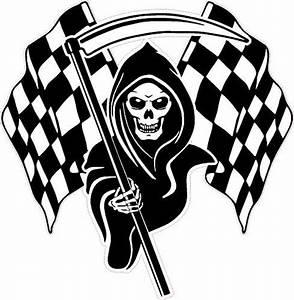 LARGE Racing Grim Reaper Skull Chequered Flags Car Van ...