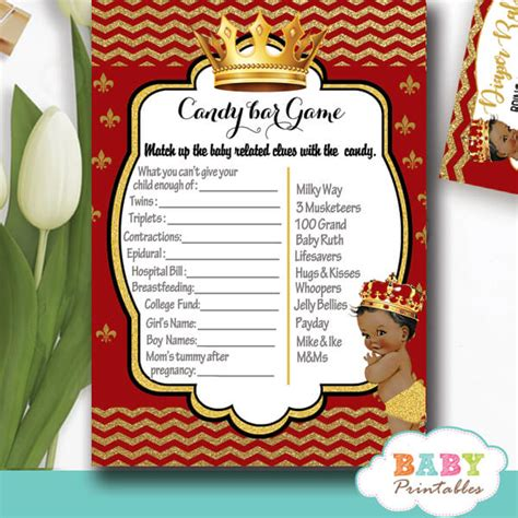 african american red  gold prince baby shower games