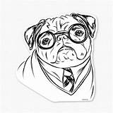 Pug Coloring Pugs Printable Drawing Dog Puppy Clipart Colouring Cartoon Sheets Harry Animal Adults Decal Sticker Lover Gifts Drawings Library sketch template