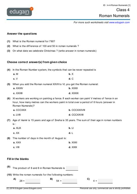 year 4 math worksheets and problems numerals